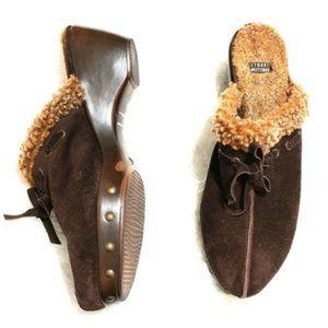 Stuart Weitzman   Fuzzy Heeled Clog Shoes
